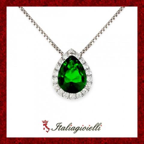 Fiabesca Collana Goccia Smeraldo Donna in Argento 925 Sterling Rodiato Oro Bianco e Zirconi Brillanti