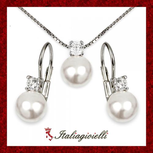 Signorile Parure da Donna in Argento 925 rodiato Oro Bianco con Perle e Zirconi