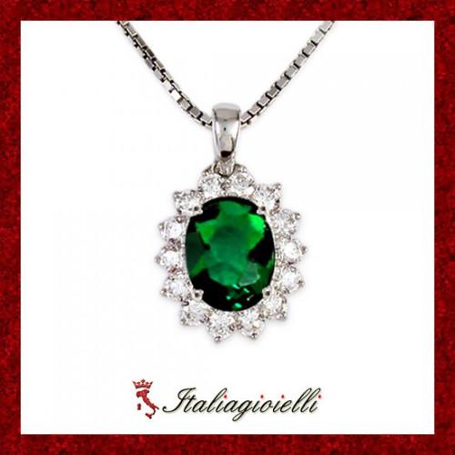 Sfarzosa Collana Smeraldo Donna in Argento 925 Sterling Rodiato Oro Bianco e Zirconi Brillanti