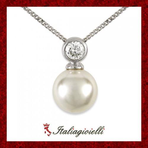 Prestigiosa Collana Donna in Argento 925 Sterling Rodiato Oro Bianco con Perla e Zircone Brillante