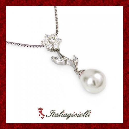 Principesca Collana Donna in Argento 925 Sterling Rodiato Oro Bianco con Perla e Zirconi Brillanti