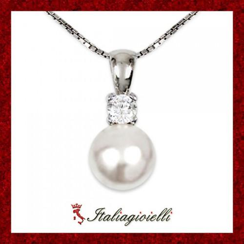 Elegante Collana Donna Argento 925 Sterling Rodiato Oro Bianco con Perla e Zircone Brillante