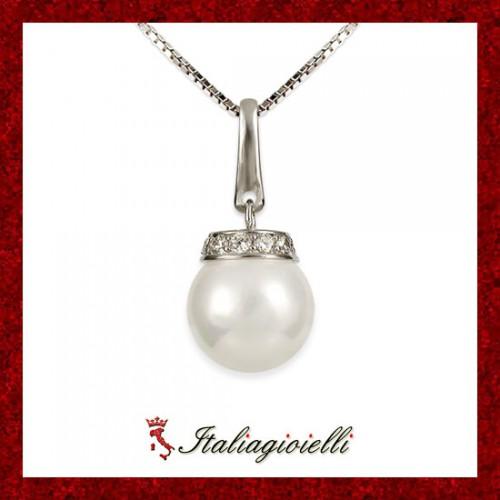 Distinta Collana Madreperla Donna in Argento 925 Sterling rodiato Oro Bianco