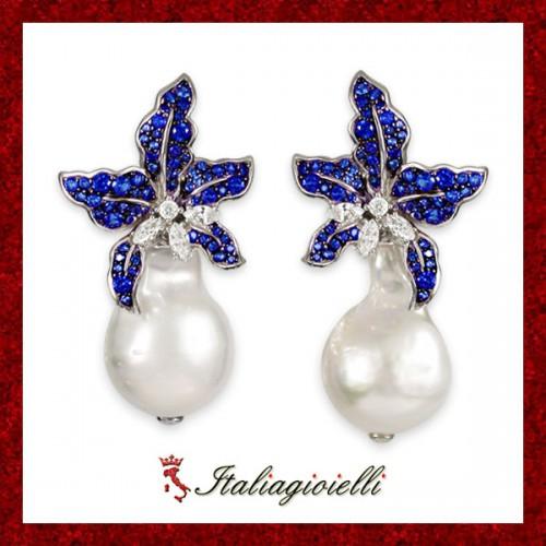 Sensuali Orecchini Zaffiro e Perle Naturali Donna in Argento 925 Sterling Rodiato Oro Bianco e Zirconi Brillanti