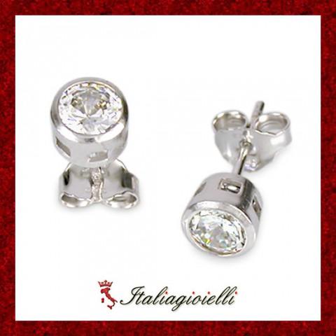 Orecchini Punto Luce Donna e Uomo in Argento 925 Sterling Rodiato Oro Bianco e Zirconi Brillanti