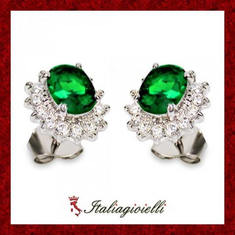 Sfarzosi Orecchini Smeraldo Donna in Argento 925 Sterling Rodiato Oro Bianco e Zirconi Brillanti