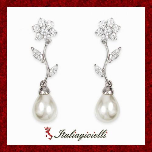 Principeschi Orecchini Donna in Argento 925 Sterling Rodiato Oro Bianco con Perle e Zirconi Brillanti