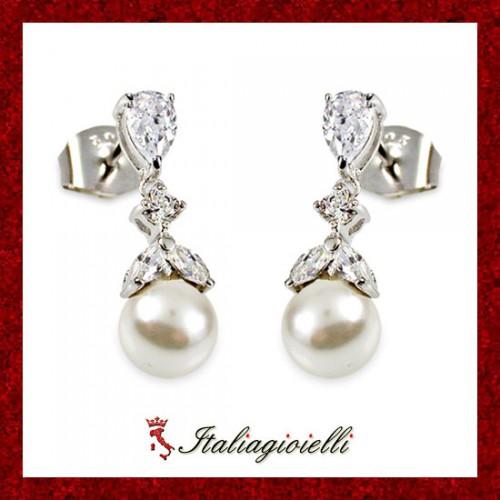 Radiosi Orecchini Donna in Argento 925 Sterling Rodiato Oro Bianco con Perle e Zirconi Brillanti