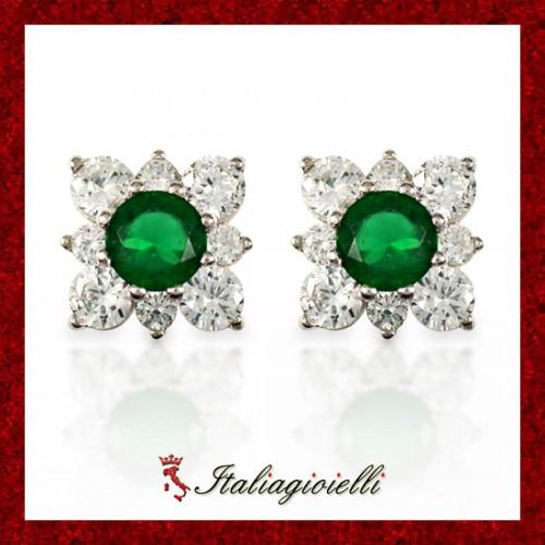 Deliziosi Orecchini Fiore Smeraldo Donna in Argento 925 Sterling Rodiato Oro Bianco e Zirconi Brillanti