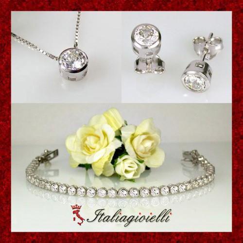 Magnifica Parure Punto Luce Donna in Argento 925 Sterling Rodiato Oro Bianco e Zirconi Brillanti