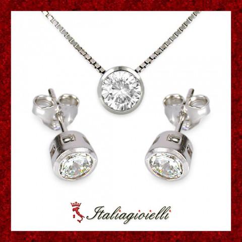 Parure Punto Luce in Argento 925 Sterling Rodiato Oro Bianco e Zirconi Brillanti