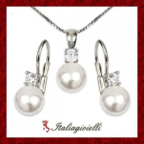 Parure Donna in Argento 925 Sterling Rodiato Oro Bianco con Perle e Zirconi Brillanti
