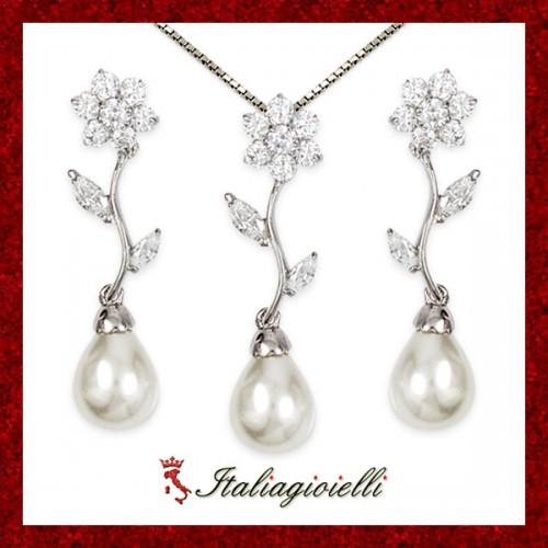 Principesca Parure Donna in Argento 925 Sterling Rodiato Oro Bianco con Perle e Zirconi Brillanti