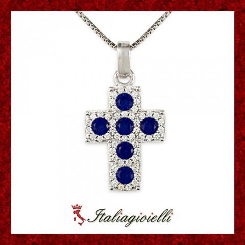 Splendente Collana Croce Zaffiro Donna in Argento 925 Sterling Rodiato Oro Bianco e Zirconi Brillanti