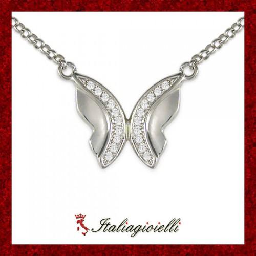 Armoniosa Collana Farfalla Donna in Argento 925 Sterling Rodiato Oro Bianco e Zirconi Brillanti