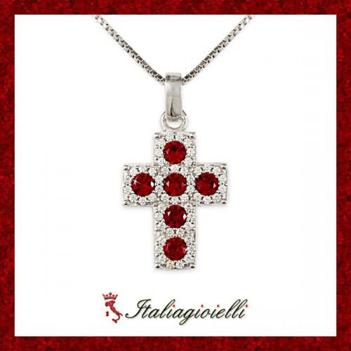 Splendente Collana Croce Rubino Donna in Argento 925 rodiato Oro Bianco