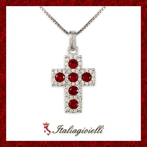 Splendente Collana Croce Rubino Donna in Argento 925 Sterling Rodiato Oro Bianco e Zirconi Brillanti