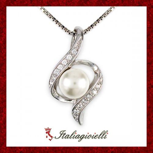 Collana Torciglio Donna in Argento 925 Sterling Rodiato Oro Bianco con Perla e Zirconi Brillanti