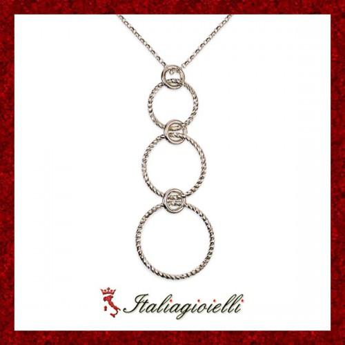 Collana Diamantata Donna in Argento 925 Sterling Rodiato Oro Bianco