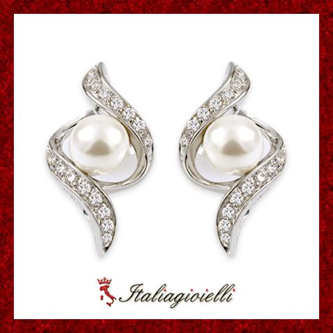 Orecchini Torciglio Donna in Argento 925 Sterling Rodiato Oro Bianco con Perle e Zirconi Brillanti