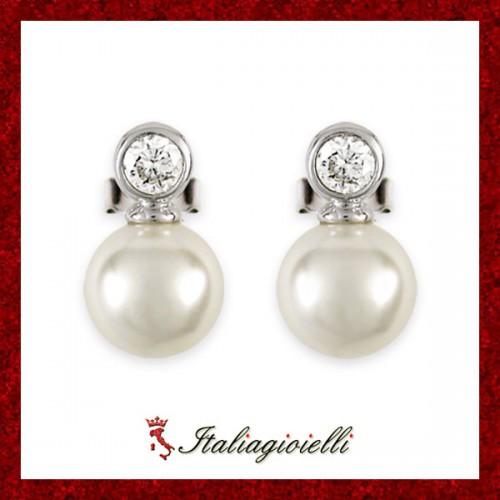 Orecchini Donna in Argento 925 Sterling Rodiato Bianco con Perle e Zirconi Brillanti
