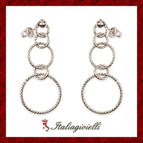 Orecchini Diamantati Donna in Argento 925 Sterling Rodiato Oro Bianco