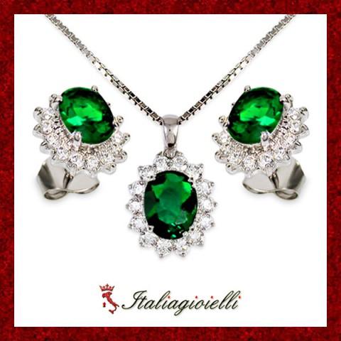 Sfarzosa Parure Smeraldo Donna in Argento 925 Sterling Rodiato Oro Bianco e Zirconi Brillanti