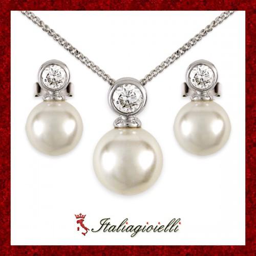 Parure in Argento 925 Sterling Rodiato Oro Bianco con Perle e Brillanti