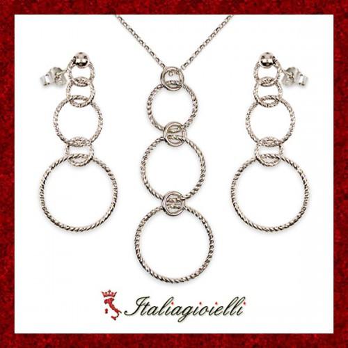 Parure Diamantata Collana e Orecchini in Argento 925 Sterling Rodiato Oro Bianco