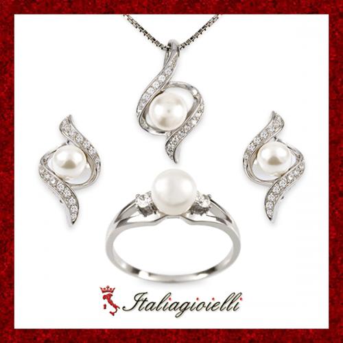 Parure Torciglio Plus Anello Collana e Orecchini in Argento 925 Sterling Rodiato Oro Bianco con Perle e Zirconi Brillanti