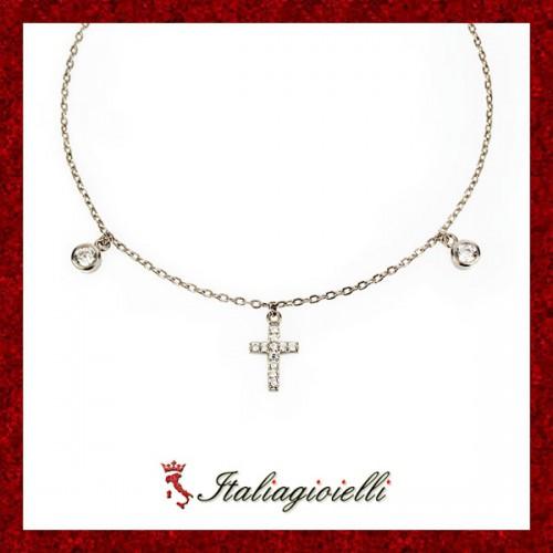 Grazioso Braccialetto Donna in Argento 925 Sterling Rodiato Oro Bianco e Zirconi Brillanti